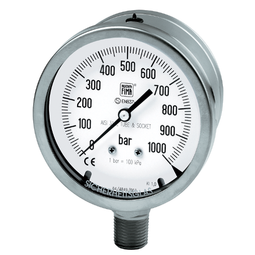 Safety stainless steel pressure gauges